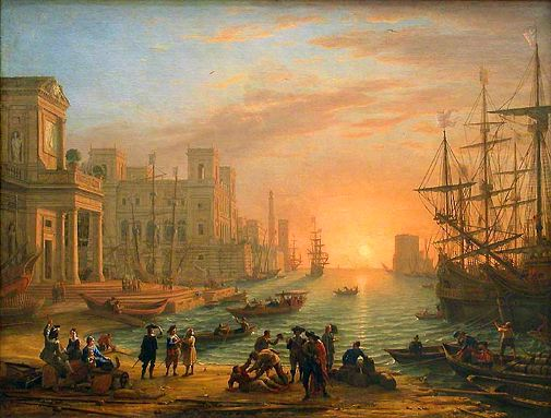 port de mer au soleil couchant le lorrain